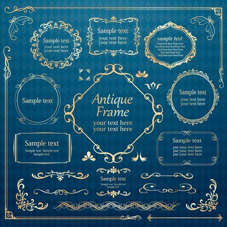 Vektorsatz Vintage-Elemente für Design. Zierrahmen, Grenzen, Trennwände, Banner, Pfeile, Monogramm, Ecken, Quadrat, Vorlage. Birnen- und Blumenvignette. Premium-Gold-Stil
