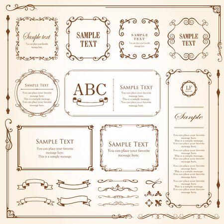 Vector set of vintage elements for design. Ornamental frames, borders, dividers, banners, arrows, monogram, corners, square, template. Pear and flower vignette. Premium gold style Ilustracje wektorowe