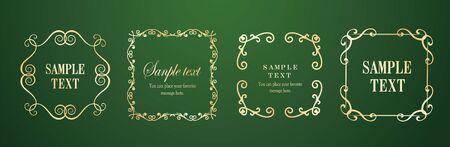 Vector set of vintage elements for design. Ornamental frames, borders, dividers, banners, arrows, monogram, corners, square, template. Pear and flower vignette. Premium gold style