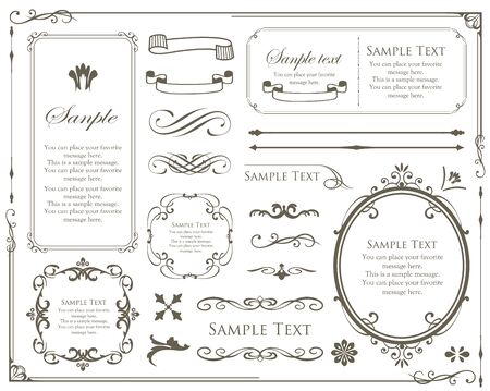 Vector set of vintage elements for design. Ornamental frames, borders, dividers, banners, arrows, monogram, corners, square, template. Pear and flower vignette. Premium gold style