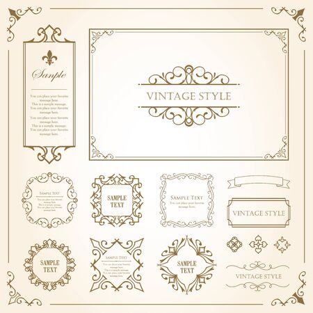 Print Decorative Beautiful Material with a Sense of Quality. Decoration. greeting card. Premium decoration. Ticket design. Antique ruled lines. High-quality box border. Design template.