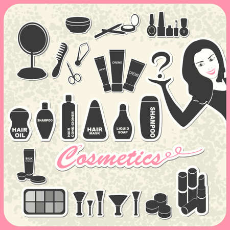 beauty care: set of cosmetics in retro style: shampoo, creme, nail, mascara, mirror, lipstick, comb
