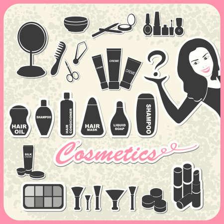 perfumery: set of cosmetics in retro style: shampoo, creme, nail, mascara, mirror, lipstick, comb
