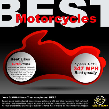 Poster or billboard about motorcycles, race so moto shop. Premium design for announcement Vector