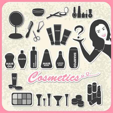 set of cosmetics in retro style: shampoo, creme, nail, mascara, mirror, lipstick, comb Vector