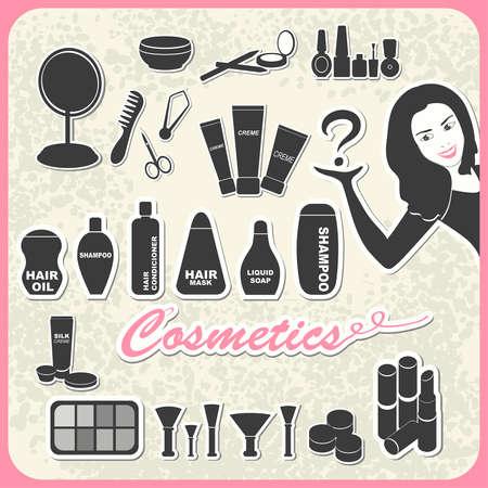 creme: set of cosmetics in retro style: shampoo, creme, nail, mascara, mirror, lipstick, comb