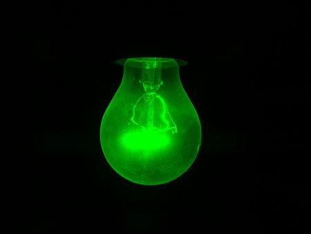 green light bulb: Green light bulb filament