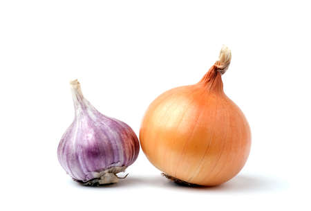 Garlic and onion bulbs isolated on white background Stock Photo