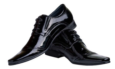 Black male shoes isolated Stock Photo