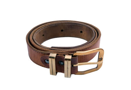 Old leather belt isolated on the white background Stock Photo