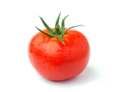 Red tomato isolated in white  Stock Photo
