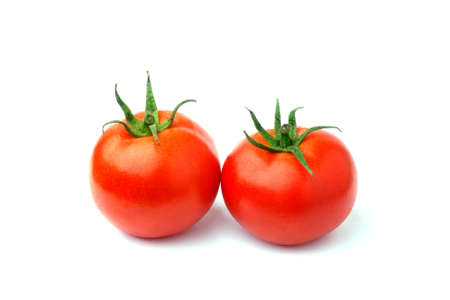 Red tomatoes isolated in white  Stock Photo