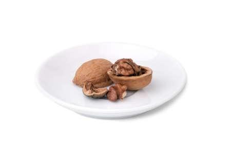 Walnut shell isolated on white Stock Photo
