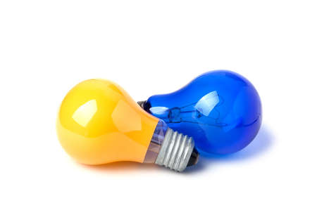 light bulbs Yellow and Blue isolated on white