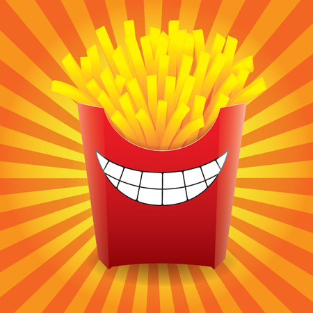 Funny French fries on striped background. Vector illustration.