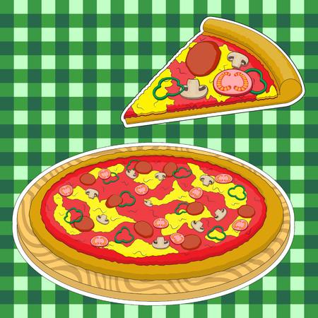 Pizza en een stuk pizza op een groene gekooide achtergrond. Vector afbeelding. EPS