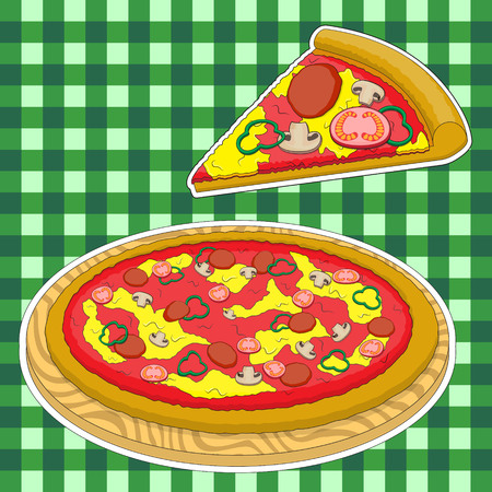 Pizza and a slice of pizza on a green caged background. Vector image. EPS Illustration