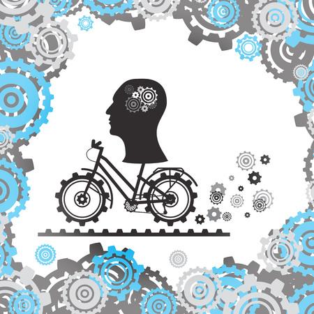 Die Silhouette eines menschlichen Kopfes mit einem Mechanismus im Gehirn auf einem Fahrrad, zwischen den Zahnrädern. Vektorbild. eps