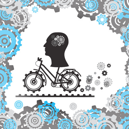The silhouette of a human head with a mechanism in the brain on a Bicycle, among the gears. Vector image. Eps