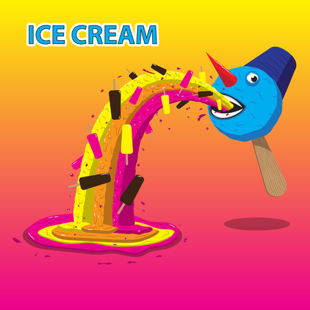 ice cream snowman burps ice cream. Vector image. EPS Ilustração