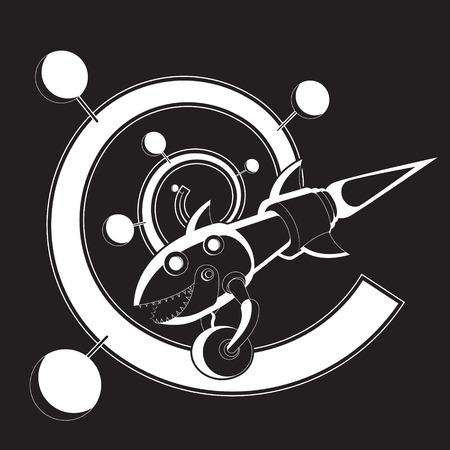Rocket fish eats wheel spiral galaxy. Vector black and white image. eps