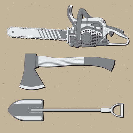 A set of three tools used for wood cutting including an axe, a shovel and a chainsaw, vector illustration Illustration