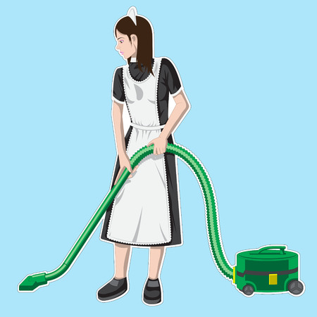 maid character wearing uniform with vacuum, cleaning service of hotel vector Illustration Eps Ilustracja