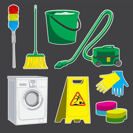set of cleaning tools bucket sponge MOP washing machine vacuum cleaner brush. Vector image eps