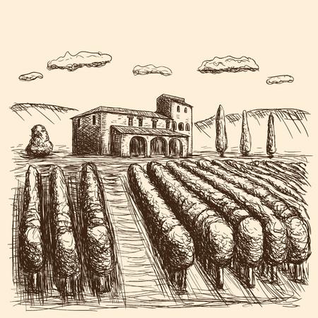 Tratto disegnato vigneti italiani in bianco e nero. illustrazione vettoriale eps