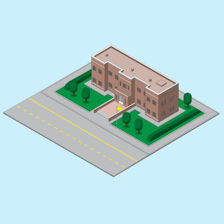 building, school state ucherezhdeny with the flag and the road. vector image eps