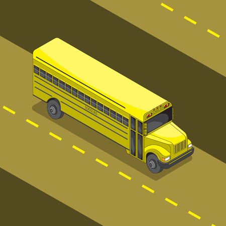 yellow school bus cartoon 3 d angle. Vector image. eps