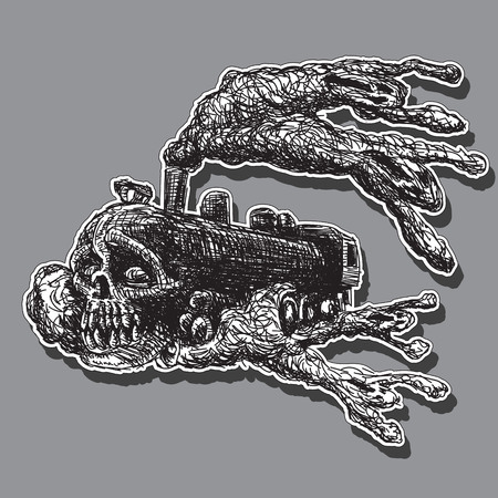 character train Ghost with skull and creepy silhouettes in smoke. Stroke drawing. Vector graphics. eps