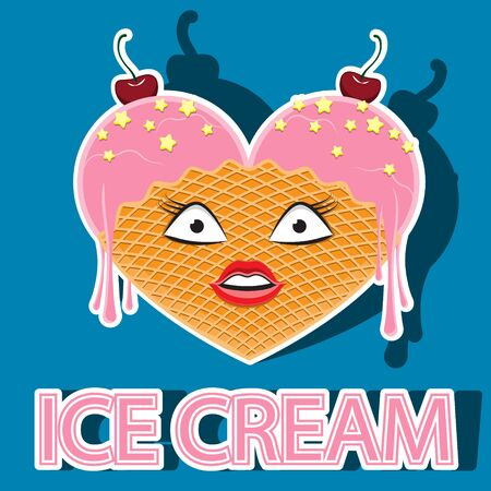 character ice cream woman double vanilla with horn and cherry.