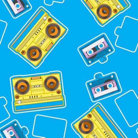 music seamless pattern blue, tape recorder to cassette. Retro. vector