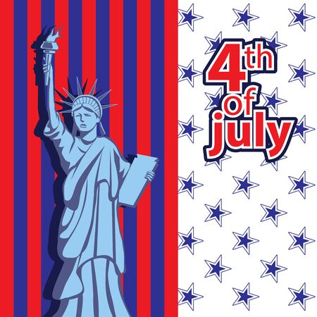 Vector illustration for the holiday of Independence Day of America. National attributes and symbols of the flag and the statue of liberty.