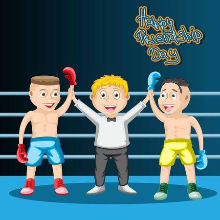 Día internacional de la amistad, los niños del boxeo un empate, el árbitro y los dos boxeadores son amigos. Ilustración de vector