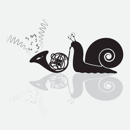 El caracol toca la silueta negra del humor de la trompeta, insignia. Ilustración de vector