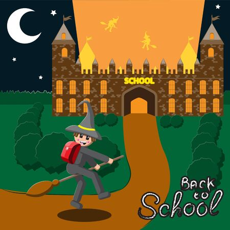 Back to school, illustration of a medieval school night month schoolboy flying on a broom in a hat.