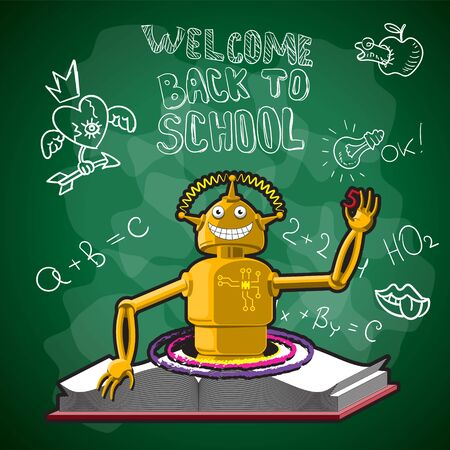 Vector illustration of back to school, the school Board robot book portal drawings with chalk on the Board.