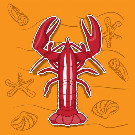 Animal arthropod cancer red, icon sticker Illustration