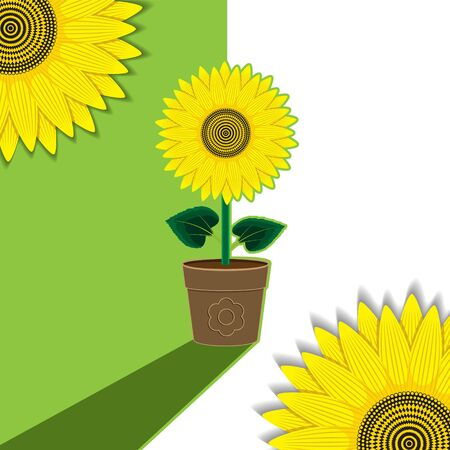 Green-white plant background flower sunflower potted. Background, banner, label, cover. Çizim