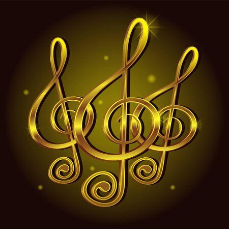 Gold treble clef music sign note. Decorative icon element Ilustrace