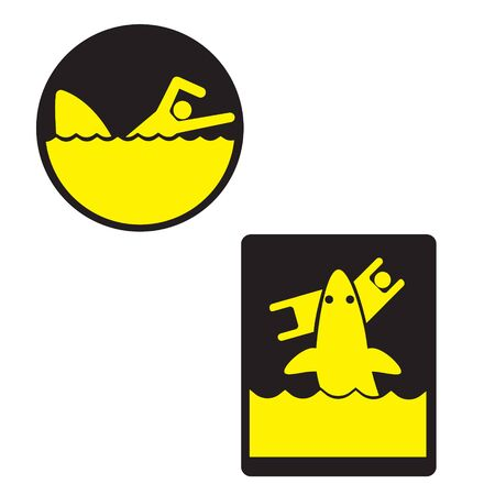 Warning sign. Watch the sharks. 일러스트