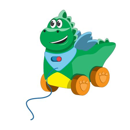 Children s plastic dinosaur toy on wheels with rope. Icon design emblem element.