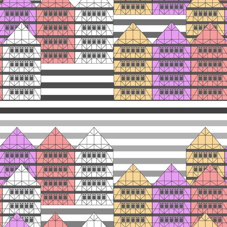 Seamless German vintage houses background on striped background. Print design paper cloth web.