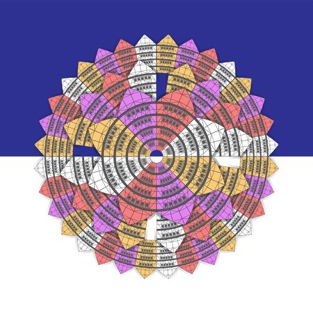 The background is a geometric mandala ornament in the form of a flower of colorful houses on an isolated blue and white background.