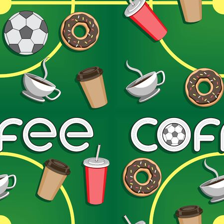 Seamless background of coffee soccer ball Cup the stadium, the letters a doughnut. Illustration