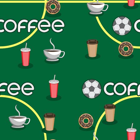 Seamless background of coffee soccer ball Cup the text field, the letters a doughnut.