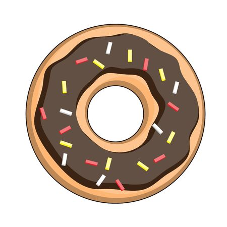 Sweet chocolate donut isolated on white background. Vector illustration in a cartoon style. Logo for cafes, restaurants, coffee shops, catering. Illusztráció