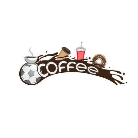 Vector image design flying soccer ball coffee liquid Cup packing doughnut letters on isolated white background. Illustration